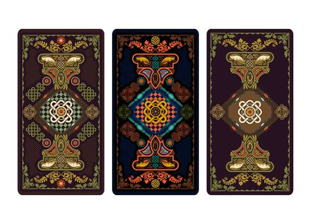 Vector illustration for Tarot and playing cards. Template for invitations, posters