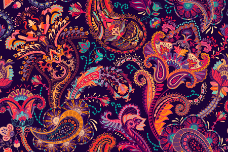Colorful Paisley pattern for textile, cover, wrapping paper, web. Ethnic vector wallpaper with decorative elements