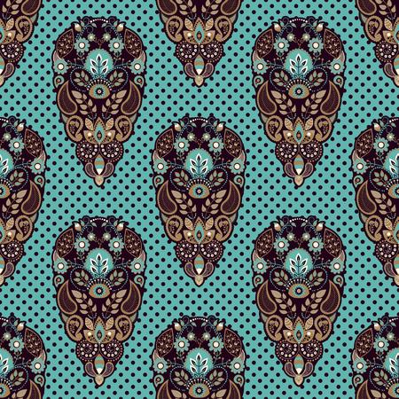 Colorful Paisley seamless pattern. Indian ornamental backdrop
