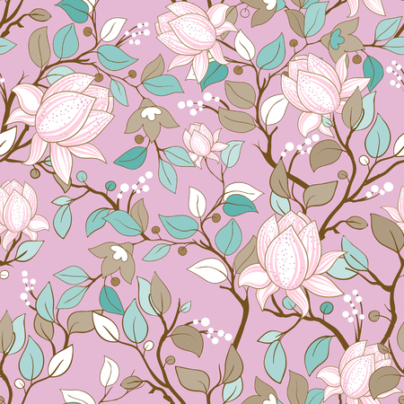 Delicate seamless pattern with large decorative magnolias. Vector floral wallpaper 일러스트