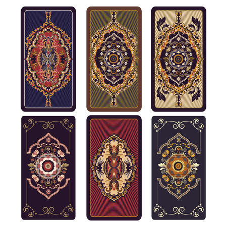 Vector illustration for Tarot and playing cards. Template for invitations, posters. Colorful Tarot cards Banco de Imagens