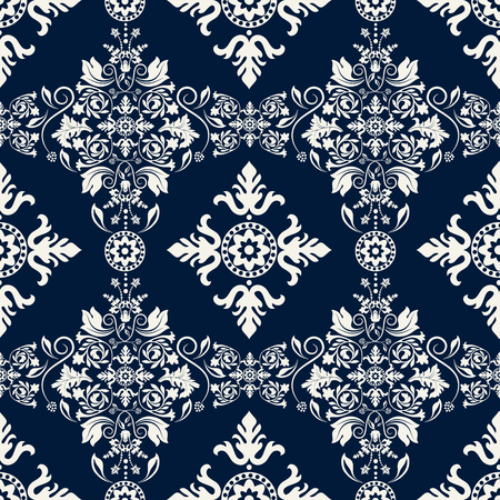 Seamless damask pattern. Two color background, blue and white. Monochrome wallpaper with damask floral elements