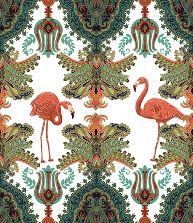 Seamless arabian pattern. Ethnic ornamental wallpaper. Colorful decorative backdrop with ornaments, plants and flamingos. Design for textile, fabric, web, wrapping paper, wallpaper