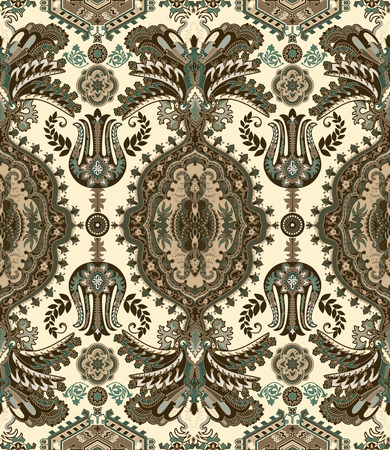 Vector seamless pattern. Indian floral ornament. Colorful decorative wallpaper. Vector illustration for web, textile, fabric, cover, print invitation