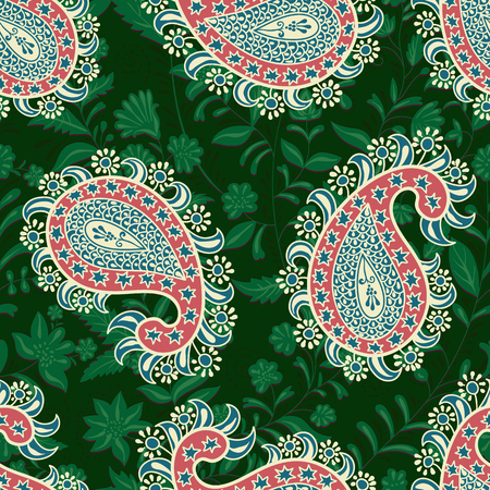 Vector seamless oriental pattern. Paisley and flowers. Colorful design for textile, fabric, web, cover, wrapping paper Illusztráció