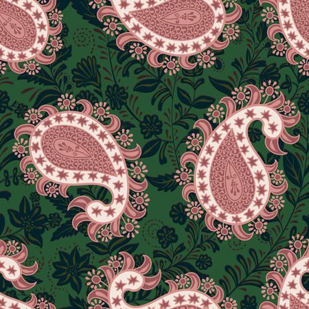 Vector seamless oriental pattern. Paisley and flowers. Colorful design for textile, fabric, web, cover, wrapping paper Ilustração