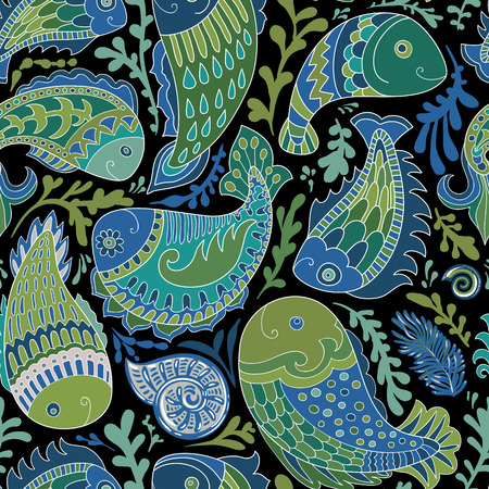 Hand drawn seamless pattern with Paisley fish. Stylized fishes like indian decorative elements. Design for textile, web, cover, postcard, invitation