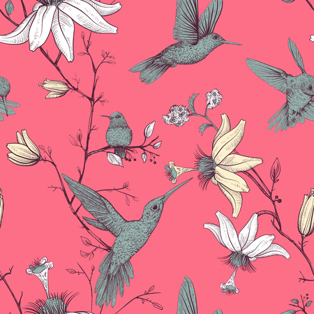 Vector sketch pattern with birds and flowers. Monochrome flower design for web, wrapping paper, phone cover, textile, fabric