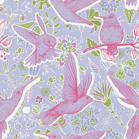 Vector sketch pattern with birds and flowers. Colorful design for web, wrapping paper, phone cover, textile, fabric Ilustração