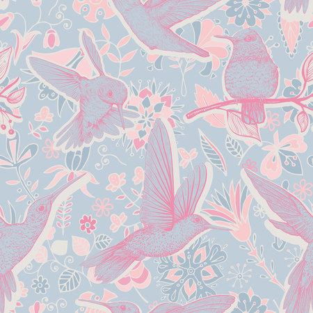 Vector sketch pattern with birds and flowers. Colorful design for web, wrapping paper, phone cover, textile, fabric Illusztráció