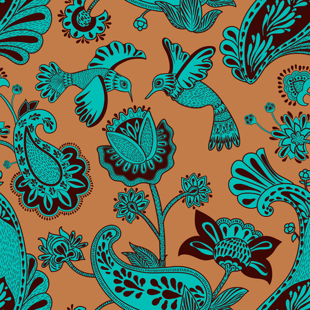 Vector seamless pattern, decorative indian style. Stylized flowers and birds on the red background. Colorful cartoon illustration. Design for textile, fabric, postcard, cover, gift paper Illusztráció