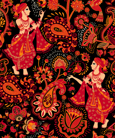 Vector seamless pattern, decorative indian style. Stylized flowers and indian dancers. Colorful vector illustration. Design for textile, fabric, postcard, cover, print, gift paper