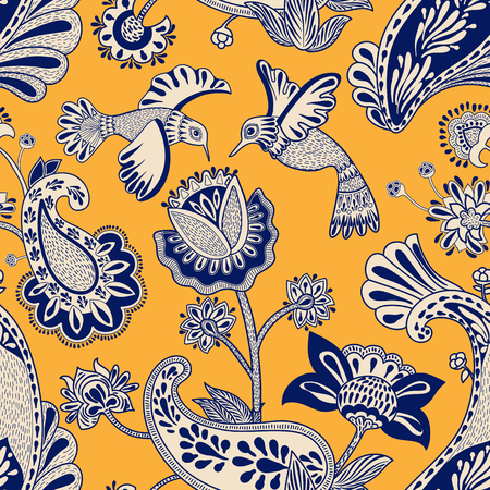 Vector seamless pattern, decorative indian style. Stylized flowers and birds on the red background. Colorful cartoon illustration. Design for textile, fabric, postcard, cover, gift paper Иллюстрация