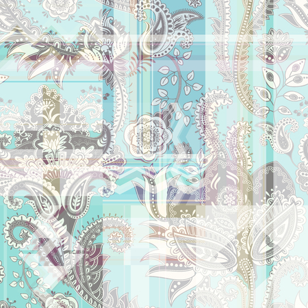 Colorful abstract seamless pattern with paisley and geometric elements. Vector wallpaper with squares and zigzags. Design for fabric, textile, web Illusztráció