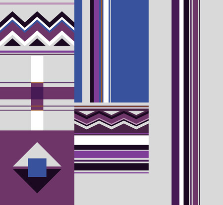 Colorful abstract seamless pattern with geometric elements. Vector wallpaper with squares and zigzags. Design for fabric, textile
