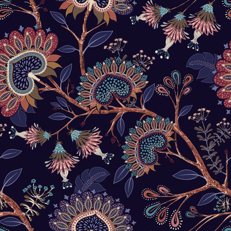 Colorful wallpaper with paisley and decorative plants. Vector Indonesian floral batik. Vector decorative indian background. Stylized flowers and shapes on the dark backdrop. Design for fabric