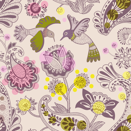 Stylized flowers and birds seamless pattern. Colorful decorative nature wallpaper. Cute floral background. Drawn flowers and plants backdrop. Design for textile, fabric, wrapping paper, carpet Illusztráció