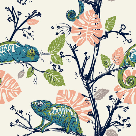 Hand drawn seamless pattern with chameleons and plants. Hameleons are sitting on the branches. Tropical wallpaper. Jungle pattern. Vector clipart. Design for fabric, textile, background