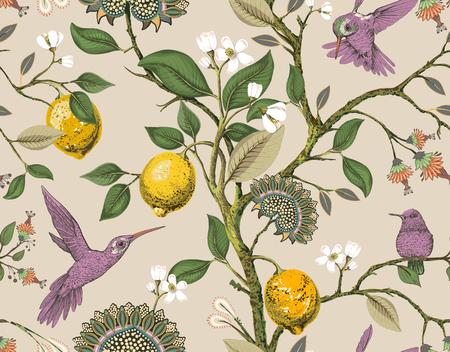 Patrón transparente de vector floral. Papel tapiz botánico. Plantas, flores de pájaros como telón de fondo. Fondo de pantalla vintage de naturaleza dibujada. Limones, flores, colibríes, jardín florido. Diseño para tela, textil.