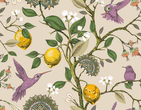 Floral vector seamless pattern. Botanical wallpaper. Plants, birds flowers backdrop. Drawn nature vintage wallpaper. Lemons, flowers, hummingbirds, blooming garden. Design for fabric, textile Illustration