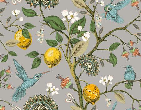 Floral vector seamless pattern. Botanical wallpaper. Plants, birds flowers backdrop. Drawn nature vintage wallpaper. Lemons, flowers, hummingbirds, blooming garden. Design for fabric, textile Illusztráció