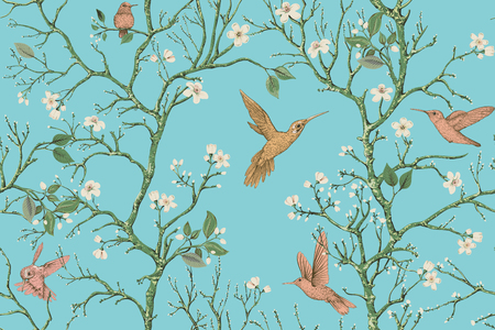 Vector colorful pattern with birds and flowers. Hummingbirds and flowers, retro style, floral backdrop. Spring, summer flower design for wrapping paper, cover, textile, fabric, wallpaper Illusztráció