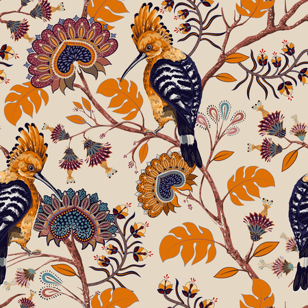 Vector colorful pattern with birds and flowers. Hoopoes and flowers, retro style, floral backdrop. Spring, summer flower design for web, wrapping paper, cover, textile, fabric, wallpaper, web Illusztráció