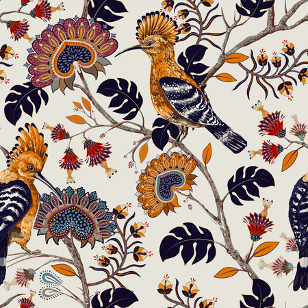 Vector colorful pattern with birds and flowers. Hoopoes and flowers, retro style, floral backdrop. Spring, summer flower design for web, wrapping paper, cover, textile, fabric, wallpaper, web Иллюстрация