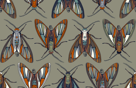 Vector ornamental pattern with butterflies. Symmetrical background with insects. Design for textile, fabric, cover, wallpaper, backdrop