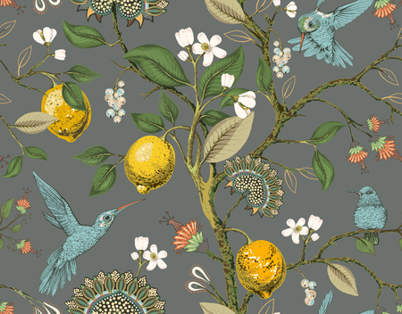 Floral vector seamless pattern. Botanical wallpaper. Plants, birds flowers backdrop. Drawn nature vintage wallpaper. Lemons, flowers, hummingbirds, blooming garden. Design for fabric textile paper Çizim