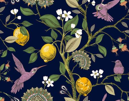Patrón transparente de vector floral. Papel tapiz botánico. Plantas, flores de pájaros como telón de fondo. Fondo de pantalla vintage de naturaleza dibujada. Limones, flores, colibríes, jardín florido. Diseño para tela papel textil