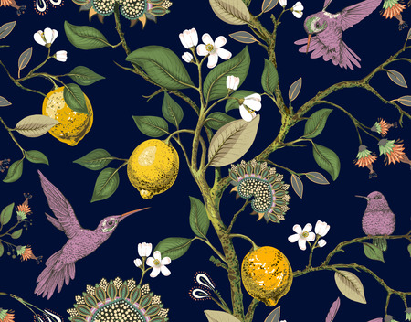 Floral vector seamless pattern. Botanical wallpaper. Plants, birds flowers backdrop. Drawn nature vintage wallpaper. Lemons, flowers, hummingbirds, blooming garden. Design for fabric textile paper Illustration