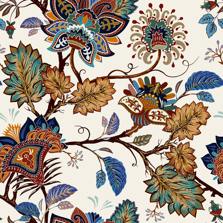 Vintage seamless pattern. Flowers background in provence style. Stylized climbing flowers. Decorative ornament backdrop for fabric, textile, wrapping paper, card, invitation, wallpaper, web design