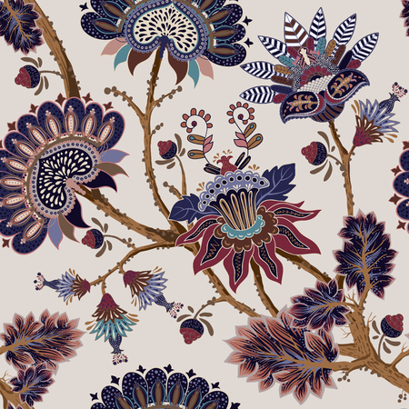 Jacobean seamless pattern. Flowers background, provence style. Stylized climbing flowers. Decorative ornament backdrop for fabric, textile, wrapping paper, card, invitation, wallpaper