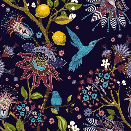 Jacobean seamless pattern. Flowers background, decorative style. Stylized climbing flowers. Decorative ornament backdrop for fabric, textile, wrapping paper, card, invitation, wallpaper web Illusztráció