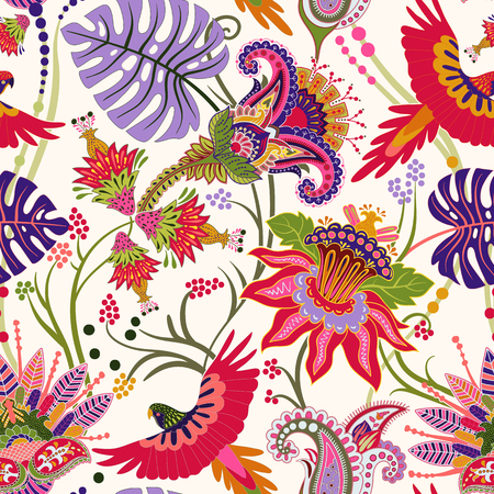 Jacobean seamless pattern. Flowers background, decorative style. Stylized climbing flowers. Decorative ornament backdrop for fabric, textile, wrapping paper, card, invitation, wallpaper