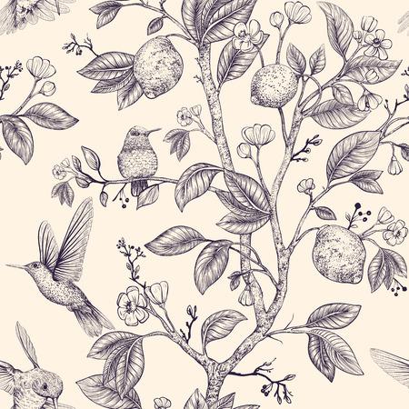 Szkic wektor wzór z ptakami i kwiatami. Kolibry i kwiaty, w stylu retro, tło przyrody. Vintage monochromatyczny projekt kwiatowy dla sieci, papieru do pakowania, okładki, tekstyliów, tkanin, tapet