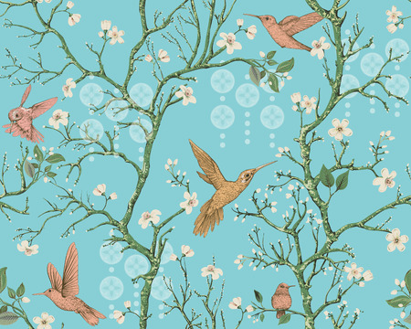 Vector colorful pattern with birds and flowers. Hummingbirds and flowers, retro style, floral backdrop. Spring, summer flower design for wrapping paper, cover, textile, fabric, wallpaper, web Illusztráció