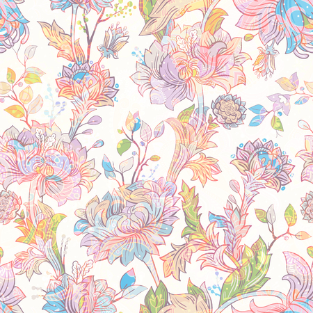 Jacobean seamless pattern. Flowers background, ethnic style. Stylized climbing flowers. Decorative ornament backdrop for fabric, textile, wrapping paper, card, invitation, wallpaper