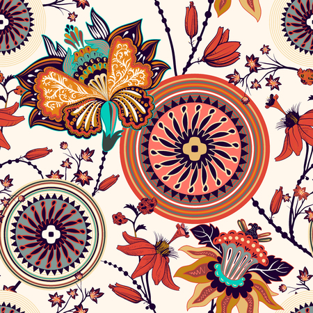 Colorful floral decorative pattern for textile, wallpaper, fabric. Ethnic vector background with geometric elements. Indian decorative backdrop. Vector illustration, abstract batik indonesia