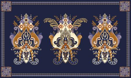 Colorful hungarian vector design for rug, towel, carpet, textile, fabric. Floral stylized decorative motifs. Rectangular ethnic floral design with ornamental center Illusztráció