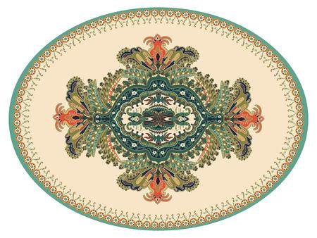 Colorful oval Persian vector design for rug, carpet, medallion. Geometric pink, beige floral backdrop. Arabian ornament with decorative elements. Elliptical Turkish carpet with folk national ornament