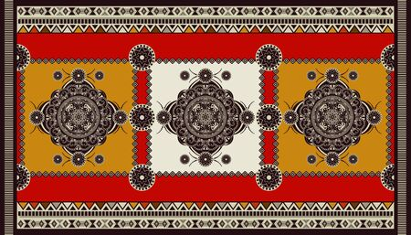 Colorful ornamental vector design for rug, carpet, tapis. Persian, Turkey rug, textile. Geometric floral backdrop. Abstract ornament with decorative elements. Abstract rectangular geometric carpet