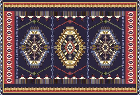Colorful ornamental vector design for rug, carpet, tapis. Persian, Turkey rug, textile. Geometric floral backdrop. Abstract ornament with decorative elements. Abstract geometric carpet template Ilustração
