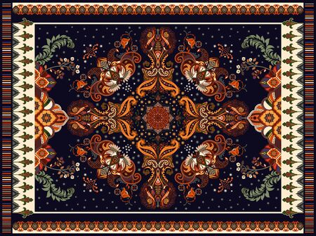 Colorful arabian vector design for rug, towel, carpet, fabric, cover. Bright floral stylized decorative motifs. Rectangular ethnic floral design with ornamental center. Vector template rug