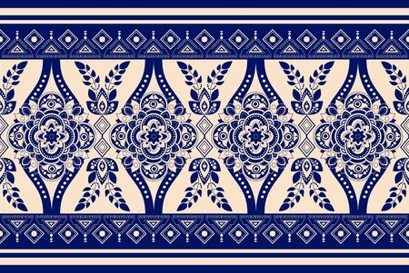 Blue and white seamless vector design for rug, carpet, textile, fabric, cover. Floral stylized decorative motifs. Rectangular ethnic floral design with ornamental center. Turkey floral ornament