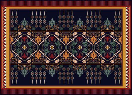 Colorful ornamental vector design for rug, carpet, tapis. Persian rug, towel, textile. Geometric floral backdrop. Arabian ornament with decorative elements. Vector ornamental design