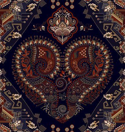 Colorful ornamental vector design for rug, carpet, tapis. Persian rug, towel, textile. Geometric floral backdrop. Arabian ornament with decorative elements. Vector ornamental template