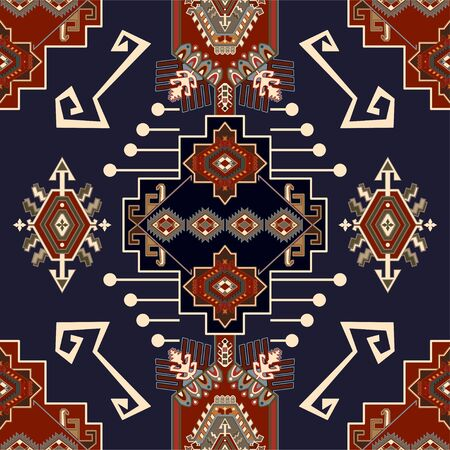 Colorful ornamental vector design for rug, carpet, textile. Seamless ornamental carpet. Geometric floral backdrop. Arabian ornament with decorative elements. Vector ornamental template