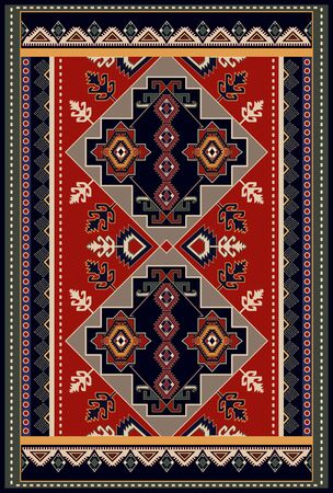 Colorful ornamental vector design for rug, carpet, tapis. Persian rug, towel, textile. Geometric floral backdrop. Arabian ornament with decorative elements. Vector ornamental design